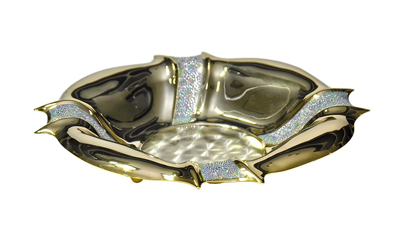 Cesta Chinelli Tiffany Dourado 28cm
