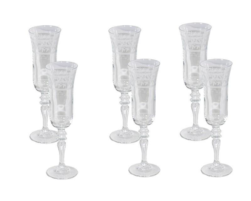 Conjunto Enesco Bordur Para Champagne 6 Taças
